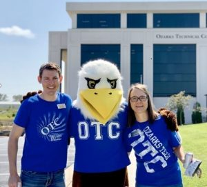 Evan and Joanna with Ozzie outside Table Rock Campus